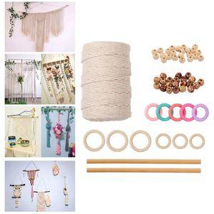 Natural Macrame Cotton Cord Rope Soft Wall Hanging Kit With Wood Ring Stick Beads Macrame Artisan String For DIY Handmade