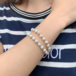 Beaded, Strands Fashion Elegant Freshwater Pearl Women's Bracelet Rope Chain Golden Silver Separated Beads Round Pearls Bracelets For Women