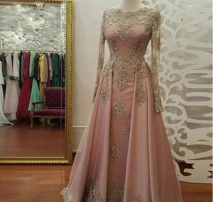 2021 Dubai Caftan Muslim Scoop A Line Evening Dresses Beaded Crystal Long Sleeve Lace Appliques Prom Party Gowns Custom Made
