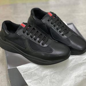 Men America's Cup XL Кожаные кроссовки Патентные Кожаные Плоские Тренеры Черные Сетчатые Кручаные Повседневные Обувь Открытый Бегун Тренажеры Высокое Качество