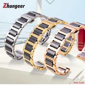 Watch Bands Fashion Ceramic Between Steel Wristwatch Straps 316L Stainless Butterfly Buckle Watches Accessories 14 16mm 18mm 20mm 22mm