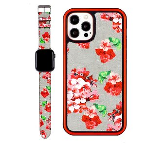 Top Luxury 2-piece set Watch Band +Phone cases For iPhone 13 12 Pro max 12pro 11 11Pro X XS XR XSMAX PU Leather Fashion Designer Watchband 38 40 42 44MM Link Chain Strap Suit