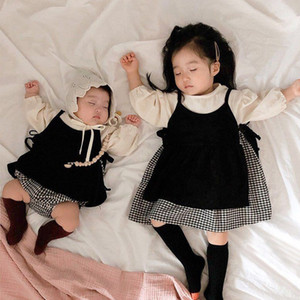 Facefoous 2020 Herbst Kinder Plaid Strap Kleid Anzug Mädchen Langarm Bodysuit Sets 2 stücke Große Schwester und kleine Schwester Kleidung Set C0225