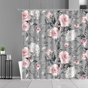 Shower Curtains Pink Rose Flower Gray Curtain Spring Plant Calico European Style Home Bathroom Decoration Waterproof Cloth