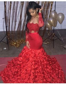 Sexy African Black Girls Long Sleeve Red Mermaid Prom Dresses 2021 3D Flowers Evening Dresses Long Two Piece Prom Dress