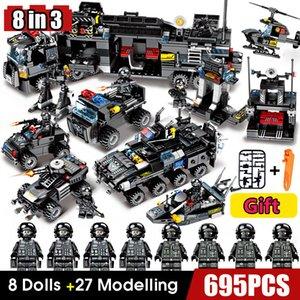 Bloques de construcción Robot City Police Juguetes para niños Diseñador Vehículo Aeronaves Bloques de camiones educativos Compatibles Armas X0127