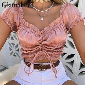 Glamaker volant plissé plissé culotte épaule féminin féminin noir été réservoir camisole rose satin sexy cami vêtements femmes