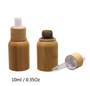 10ml Empty Bamboo Essential Oil Dropper Bottle with Glass Inner Container Aromatherapy Refillable bottles SN5154