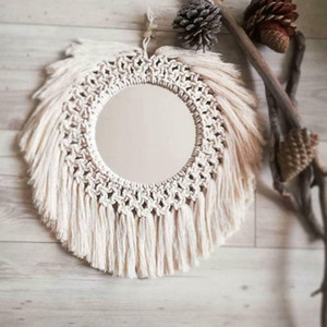Hanging Wall Mirror with Macrame Fringe Round Boho Mirror Decor Accessories Handmade Woven Tassel Vintage for Home Decor