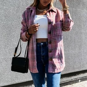 Women Shirts Thick Check Fleece Casual Shacket Top Fashion Loose Youtb Lady Shirt Tunic Oversize Baggy Clothing Winter Autumn