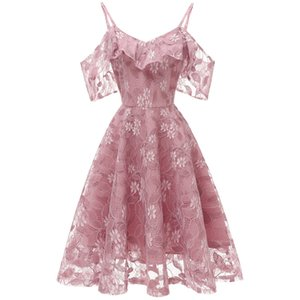 Elegant Ladys Wedding Party Bridesmaids Single Shoulder Company party dress Youth Party Banquet Lace Dress New Style