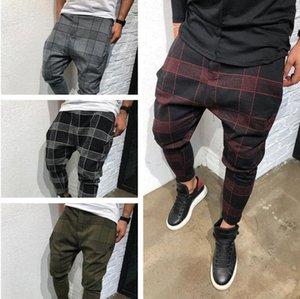 Erkek Pantolon Ekose Erkek Rahat Pantolon Şerit Kare Baskılı Sweatpants Harem Pantolon Erkek Kış Checkerboard Moda Erkek Streetwear