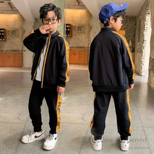 Kids letter sports clothing sets boys round collar long sleeve jacket outwear+loose pants children reflective stripe casual outfits Q2590
