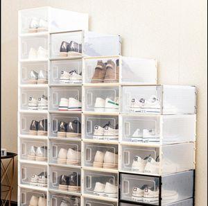 Прозрачная увеличенная коробка для обуви складной пластиковый пластиковый четкий домашний Организатор, штабелируемый дисплей Наложенные комбинированные туфли Контейнеры кабинета коробок