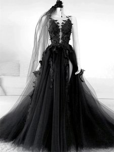 Gothic Style Black Lace Wedding Gowns Flower Appliques Tulle A Line Sexy Backless Vintage Design 2021 Garden Country Bridal Dresses Plus Size
