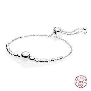 925 Sterling Silver String Pan Bracelet Of Beads Sliding Adjust Bracelet Bangle Fit Women Bead Charm Diy Europe Jewelry