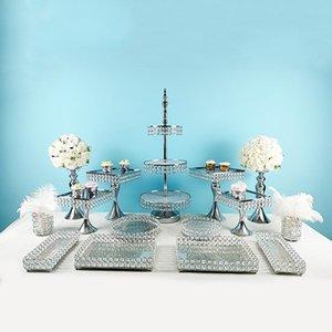 Altro Bakeware 3pcs -17pcs Quadrato Cake Stand High Base Bupcake Plate Plate Filmming Puntelli Dessert Disponibile vassoio da sposa Display Decorazione