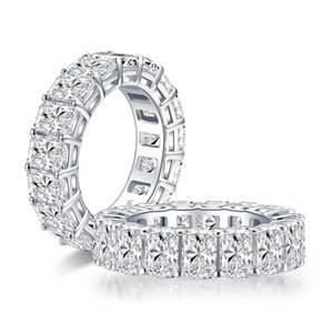 6x4mm Radiant Cut Full Eternity Ring for Women 925 Sterling Silver Sona Simulated Diamond Wedding Band Ring