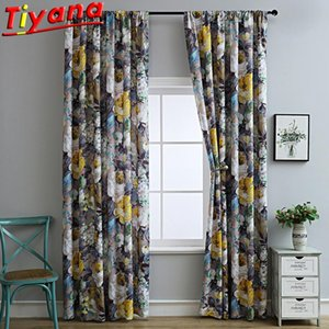 Curtain & Drapes 1 PC 100*130 American Style Flowers Printed Curtains For Living Room Modern Art Plant Blackout Window Bedroom *NT