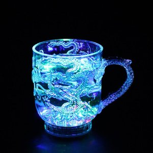 Travel Colorful Flash Activated Diamond Dragon LED Cup Toy Magic Wine Beer Light-Up Whisky Water Mug Changing Gift Creative Bar Afwhv