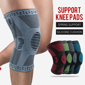 Elastic Knee Patella Patella Protector Brace Silicone Tampon Basketball Basketball Compression Manches de compression Support Sports Knepads 74 W2