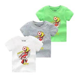 New summer Korean boys' round neck short sleeve cotton thin cartoon football T-shirt