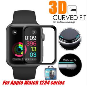 Apple Watch 4 Tam Kaplı 9h 3D Kavisli Kenar Tutkal Temperli Cam Film Ekran Koruyucu 40mm 44mm 38mm 42mm IWatch 123