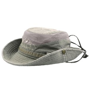 Mens Cotton Embroidery Hat Visor Mesh Bucket Hats Fisherman Outdoor Climbing Cap Foldable Anti-uv Hat Windproof Breathable Gorro