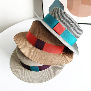 Summer New Street Sunscreen Ribbon decoration Flat Top Straw Hat Women Panama Fashion Retro Sun Hat