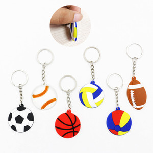 Creative Keychain Pendant Football Baseball Basketball Volleyball Beach Ball Rugby Key Chain PVC Keyring Small Gift