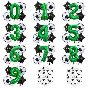 Helium Foil Globos Футбол Воздушные шары День рождения Украшения Дети Мальчик Кубок мира Цифы Номер мяч Футбол Партии