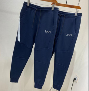 Dark blue Tech Fleece Sport Pants Space Cotton Trousers Men Tracksuit Bottoms Mens Joggers Tech Fleece Camo Running pants M-XXL 805163
