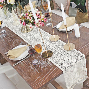Crochet Hollow Lace Table Runner Tassels Beige Cotton Wedding Decor Tablecloth Nordic Romance Table Cover Coffee Runners GWC6164