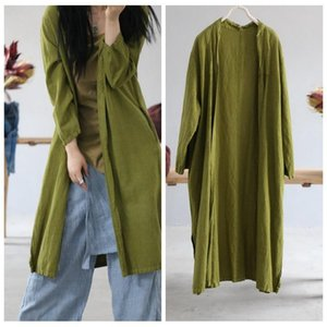 Women's Trench Coats Women Spring Summer Ramie Long Coat Ladies Solid Color Outerwear Female Open Stitch Overcoat 2021