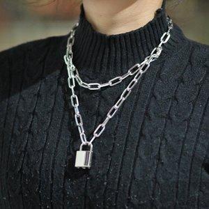 Lcdouble capa cerradura punk 80s 90s enlace cadena oro candado colgante collar para mujer moda joyería gótica