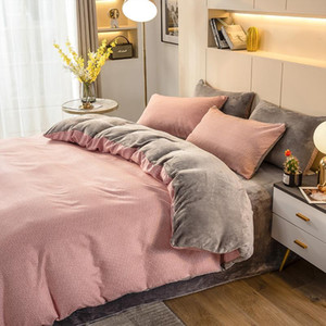 2021 Spring Knitted Cotton + Flannel Fleece Bedding Set Warm Thicken Home Linens Fashion King Size Sheet Modern Duvet Cover 4pcs
