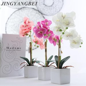 Декоративные цветы венки шелковые бабочка орхидея керамика бонсай искусственный с листьями ваза установлен домашний декор свадебные украшения в горшке план