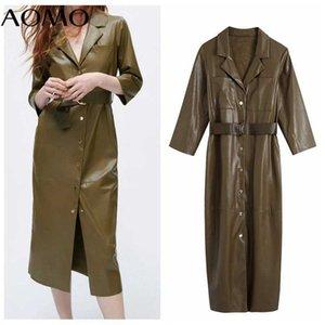 AOMO 2021 Fashion Women Amygreen Faux Leather Dress with Belt Vintage Long Sleeve Office Ladies Midi Dress BE609A G1011