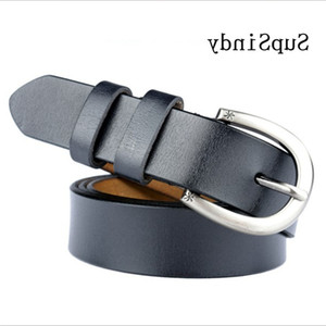 Supsindy Belts Pin Buckle Punk Luxury Famale Waistband Black Genuine Leather Women Belt for Jeans High Quality