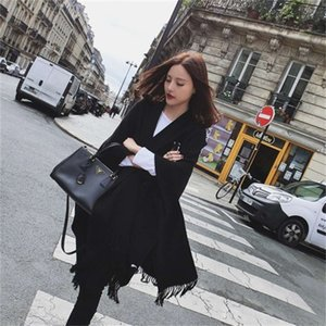 Autumn and winter super large shawl solid color cashmere like scarf women's warm Cape dual purpose thickened neck