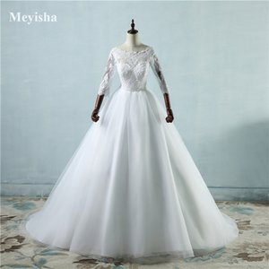 ZJ9091 Design Middle Sleeve White Ivory Beads Waist Wedding Dress Chapel Train Lace Bridal Gowns Tulle Size 2-26W