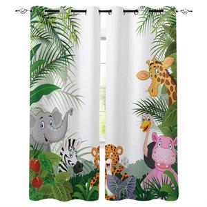 Curtain & Drapes Tropical Jungle Animal Cartoon Giraffe Elephant Window For Living Room Kids Bedroom Home Decor