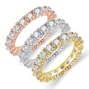 Fashion Cubic Zircon Pave Band Ring Eternity Stacking Finger Rings for Women Round CZ Diamond Crystal Party Wedding Ring Bride Jewelry Gift
