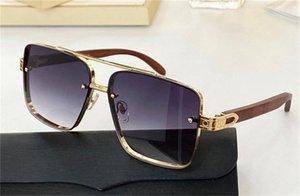 Neue Modedesign Sonnenbrille 8200991 Quadratische Metallrahmen Holztempel einfacher großzügiger Stil Top Qualität UV400 Schutzbrille