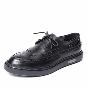 Lace-Up Business Men Shoes Men Dress Shoes High Quality Genuine Leather Mens Casual breathable Spring all-match cowhide S19d#