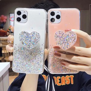 Luxury Bling Glitter Love Heart Phone Case For iPhone 11Pro Max Case XS MAX XR 8 7 6 Plus With Bracket Soft Silicone Cover Coque