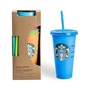 NEW 24OZ 710ml Starbucks Color Change Plastic Tumbler Reusable Clear Drinking Flat Bottom Cup Pillar Shape Lid Straw Mug Bardian
