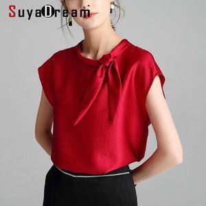 SUYADREAM Femmes T-shirts Solid T-shirts 100% Collier en soie Satin Bowwing Chemises à manches levées Élégant Top 210306