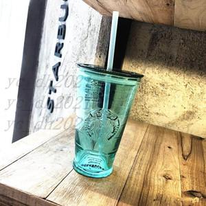 Summer Starbucks Green Glass straw cup 16oz Relief Mermaid logo heat insulation Glass Coffee mug 18oz Ice cup for cola fruit juice