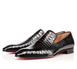 Джентльменская вечеринка свадебное платье обувь одуванчик Оксфорды плоские мужские бизнесски скользят на красном нижнем человеке Loafer роскошный дизайнер Shoess